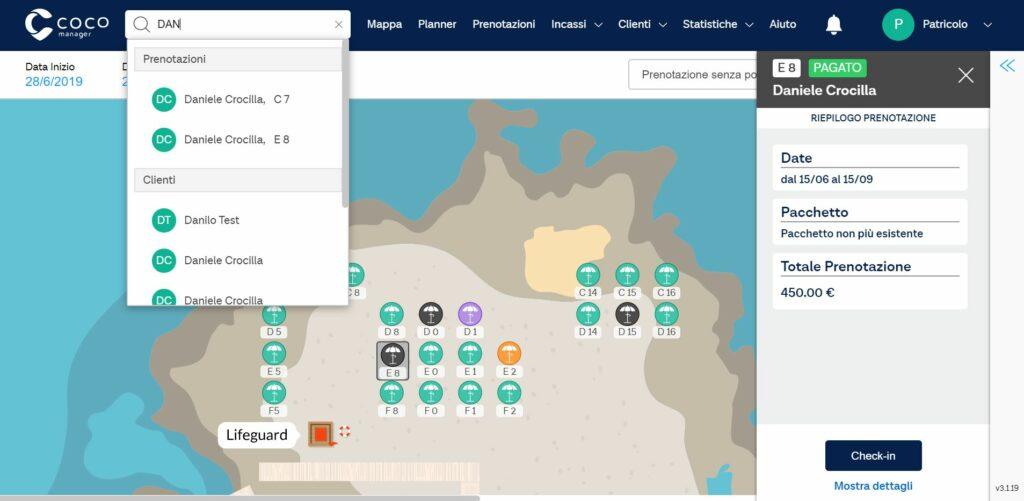 mappa personalizzata, su cui è selezionata una postazione e si visualizza i dettagli del cliente
