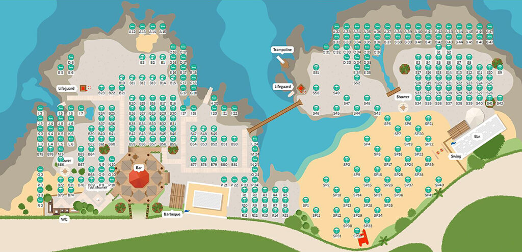mappa personalizzata del lido con ombrelloni, bar, lifeguard, docce